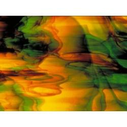 vert émeraude, marron, jaune, touches de brun foncé - 15x30.5cm