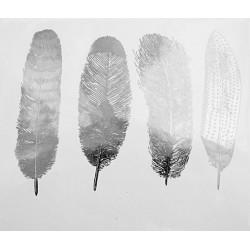 décalcomanie grandes plumes argent