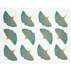 décalcomanie feuilles de gingko turquoise et or